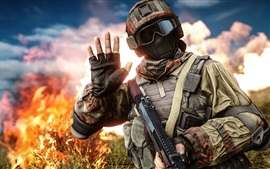 Preview wallpaper Battlefield 4, soldier, helmet, goggles, hand
