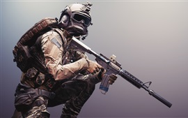 Preview wallpaper Battlefield 4, soldier, weapons, equipment
