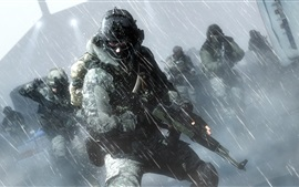 Preview wallpaper Battlefield 4, soldiers, action in the rain