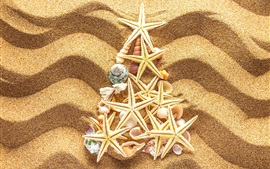 Preview wallpaper Beach, sands, seashells, starfish, Christmas tree