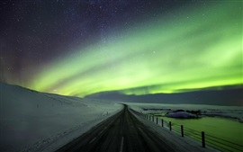 Beautiful northern lights, road, snow, winter, Iceland