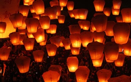 Preview wallpaper Beautiful sky, Lantern Festival, warm light