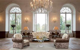 Preview wallpaper Castle style, living room, sofa, lights, interior design