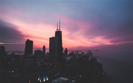 Chicago city, USA, skyscrapers, red sky, dusk, sunset