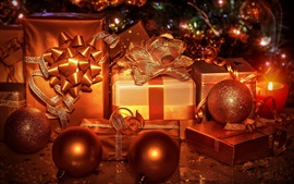 Christmas gifts, decorations, balls, ribbon, golden color