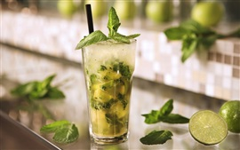Cold drinks mojito, mint leaves, lime green, ice