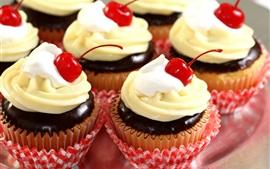미리보기 배경 화면 맛있는 달콤한 케이크, 크림, 체리