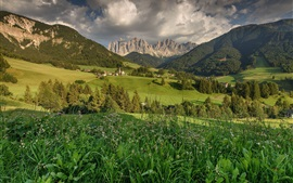 Preview wallpaper Dolomites, Santa Magdalena, Italy, fields, mountains, trees, houses
