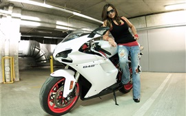 Preview wallpaper Ducati 848 white color motorcycle and girl