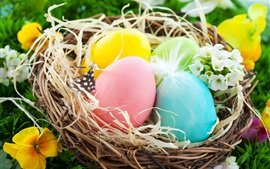 Preview wallpaper Easter Eggs, colorful, nest, flowers, spring
