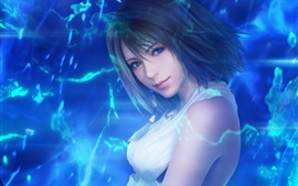 Preview wallpaper Final Fantasy, short hair girl, blue background