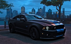 Preview wallpaper Ford Mustang 5.0L car at city night
