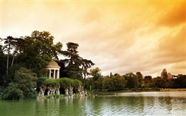 Preview wallpaper France, Paris, Bois de Vincennes Parc, lake, trees, clouds, dusk