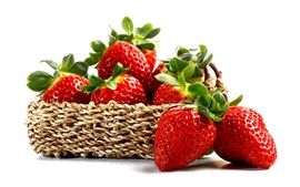 Preview wallpaper Fresh strawberry, red berries, fruit, basket