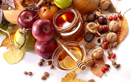 Preview wallpaper Fruits, apples, chestnuts, walnuts, honey, pumpkin