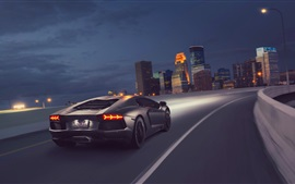 Gray Lamborghini supercar, speed, rear, night
