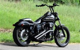 ハーレーダビッドソンチョッパー黒のオートバイ