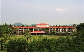 Hotel, trees, houses, Jeju island, korea
