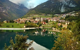 Preview wallpaper Italy, Molveno, mountains, houses, lake, clouds