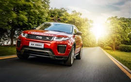 Preview wallpaper Land Rover Range Rover red SUV car speed, road, sun rays