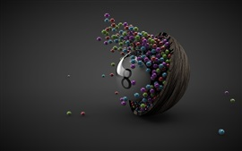 Many balls, bowl, eight, gray background, 3D design