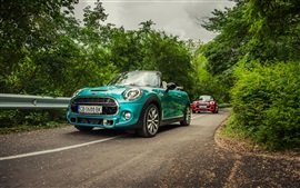 Preview wallpaper Mini Cooper Cabrio F57 cars, blue and red