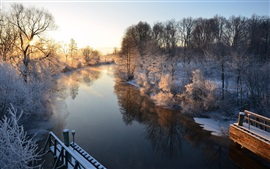 Morning scenery, Sweden, river, winter, snow