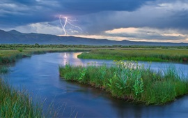 Mountains, lightning, river, grass, dusk, nature landscape