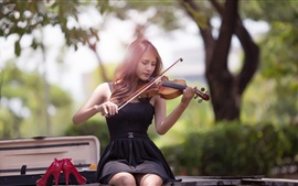Preview wallpaper Music girl, Asian, violin