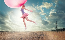 Preview wallpaper Oversized chewing gum bubble, girl flying, grass, creative pictures