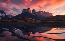 Preview wallpaper Patagonia, beautiful landscape, mountains, lake, red sky, clouds, sunset