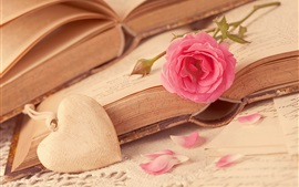 Preview wallpaper Pink rose flower, love hearts, book