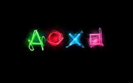 Preview wallpaper Playstation colorful logo, black background