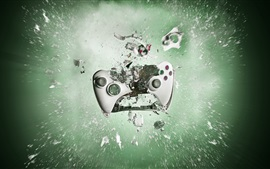 Playstation gamepad smashing into pieces, creative pictures
