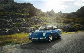 Preview wallpaper Porsche Carrera convertible car, blue color, sun
