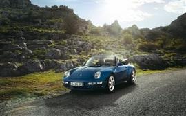 Porsche Carrera кабриолет автомобиль, синий цвет, солнце