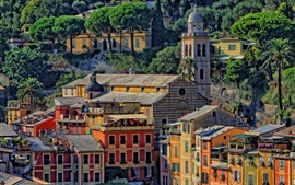 Portofino, Italy, houses, Church, tower, trees