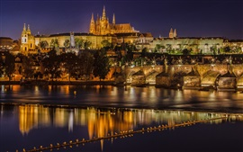 Preview wallpaper Prague, Czech Republic, Charles Bridge, Vltava river, night, lights