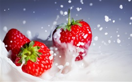 Preview wallpaper Red strawberries splash whipped cream