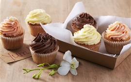 Preview wallpaper Sweet cream cakes, dessert, cupcakes, chocolate, flower