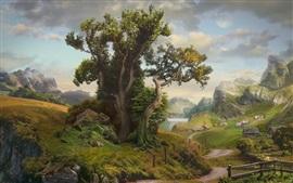 Деревья, горы, деревня, дом, озеро, трава