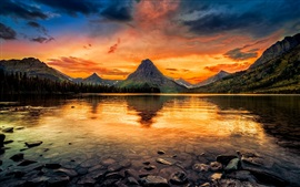 Preview wallpaper Two Medicine Lake, Glacier National Park, USA, mountains, clear water, sunset