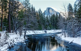 Preview wallpaper Yosemite National Park, California, USA, snow, forest, trees, mountains, river