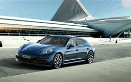 Preview wallpaper 2015 Porsche Panamera 4S blue supercar