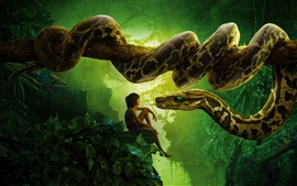 2016 The Jungle Book, boy and snake