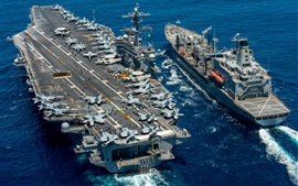Preview wallpaper Aircraft carrier USS Carl Vinson CVN 70, replenishment oiler Yukon T-AO 202