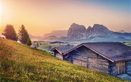 Aperçu fond d'écran Alpes, montagnes, cabanes, crépuscule, herbe