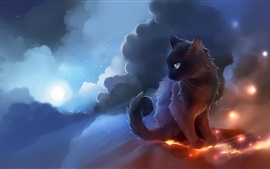 Preview wallpaper Apofiss art drawing, kitten, clouds