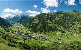 Austrian Alps, mountains, trees, village, houses, top view