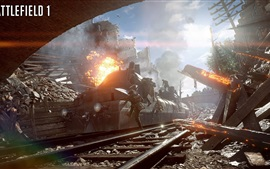 Preview wallpaper Battlefield 1, ruins, train